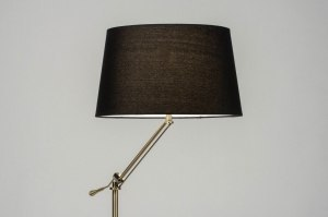 vloerlamp 30790 modern klassiek eigentijds klassiek messing geschuurd stof metaal zwart brons messing