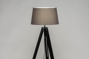 floor lamp 30791 industrial look rustic modern wood fabric black matt grey