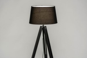 floor lamp 30792 industrial look modern retro contemporary classical wood fabric black matt round