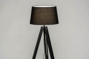 lampadaire 30792 look industriel moderne retro classique contemporain bois etoffe noir mat rond