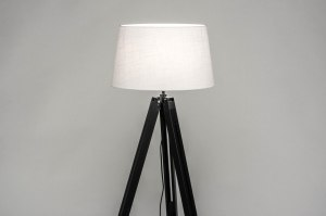 floor lamp 30793 industrial look modern retro contemporary classical wood fabric black matt white round