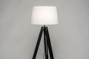 vloerlamp 30793 industrie look modern retro eigentijds klassiek hout stof zwart mat wit rond