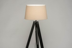 floor lamp 30794 industrial look modern retro contemporary classical wood fabric black matt beige sand round