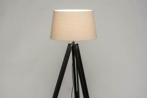 lampadaire 30794 look industriel moderne retro classique contemporain bois etoffe noir mat beige sable rond