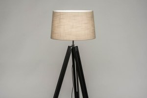 floor lamp 30795 industrial look modern retro contemporary classical wood fabric black matt taupe colored round