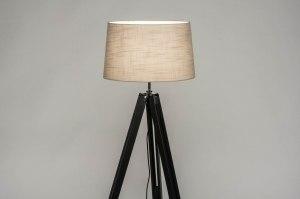 vloerlamp 30795 industrie look modern retro eigentijds klassiek hout stof zwart mat taupe rond