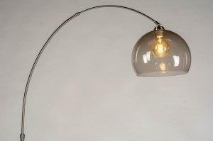 Stehleuchte 30801 modern Retro Glas Edelstahl Kunststoff Kunststoffglas Metall braun stahlgrau rund