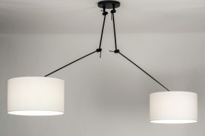 hanglamp 30802 modern stof metaal zwart mat wit