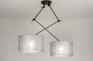 pendant light 30803 modern fabric metal black matt silvergray