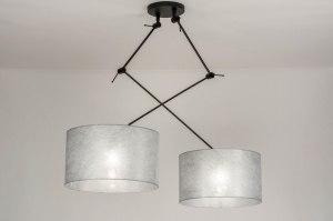 hanglamp 30803 modern stof metaal zwart mat zilvergrijs