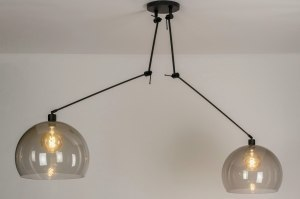 pendant light 30804 modern retro plastic acrylate synthetic glass metal black matt