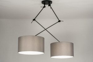 pendant light 30807 modern fabric metal black matt grey