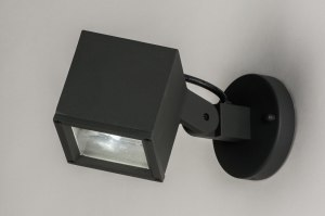 wall lamp 30827 designer modern aluminium metal black matt dark gray square