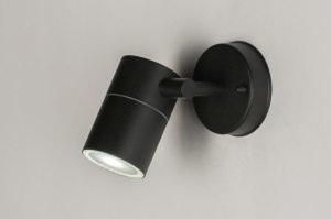 wall lamp 30828 modern stainless steel metal black matt round