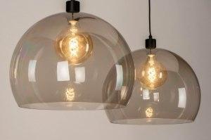 hanglamp 30857 industrie look modern art deco kunststof acrylaat kunststofglas zwart mat grijs