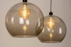 pendant light 30858 modern retro glass plastic metal black matt grey brown oblong