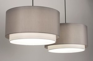 pendant light 30860 rustic modern fabric black matt white grey round oblong