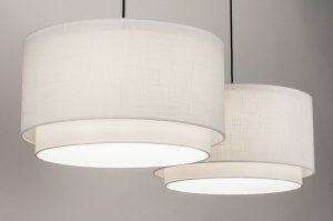 pendant light 30861 rustic modern fabric black matt white round oblong