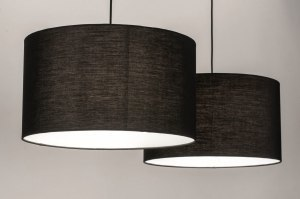 pendant light 30862 modern fabric metal black matt round oblong