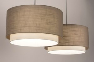 pendant light 30863 rustic modern fabric black matt white taupe colored round oblong