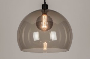 pendant light 30864 industrial look modern retro plastic acrylate metal black matt grey round