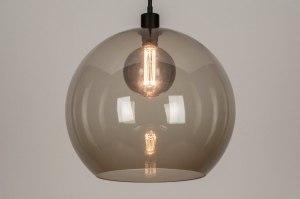 hanglamp 30865 modern retro glas metaal zwart mat grijs rond