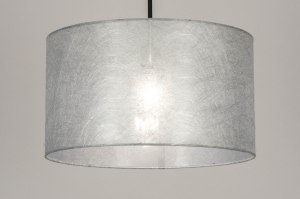 pendant light 30866 modern fabric metal black matt silvergray silver round