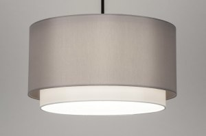hanglamp 30867 landelijk rustiek modern klassiek stof metaal zwart mat wit grijs rond