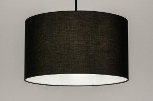 pendant light 30868 industrial look modern fabric metal black matt round