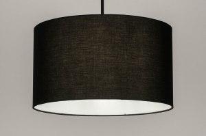 hanglamp 30868 industrie look modern stof metaal zwart mat rond