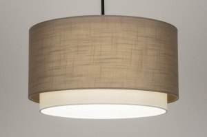 pendant light 30869 rustic modern fabric metal black matt taupe colored round