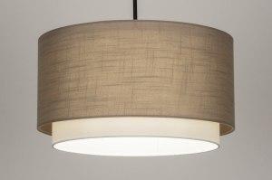hanglamp 30869 landelijk rustiek modern stof metaal zwart mat taupe rond