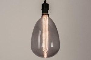 hanglamp 30873 modern retro glas metaal zwart mat grijs rond langwerpig