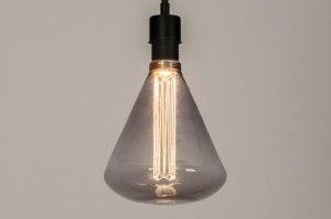 hanglamp 30874 industrie look modern retro glas metaal zwart mat grijs rond