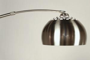 vloerlamp 30876 modern retro staal rvs metaal wit rond