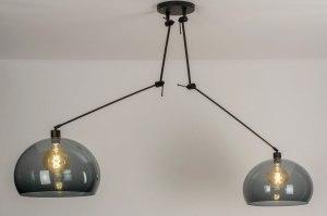 hanglamp 30880 modern retro glas kunststof metaal zwart mat grijs