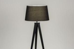 lampadaire 30886 design moderne etoffe acier noir