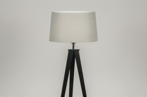vloerlamp 30887 design modern stof metaal zwart grijs