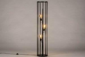 vloerlamp 30891 industrie look modern stof metaal zwart mat rond langwerpig