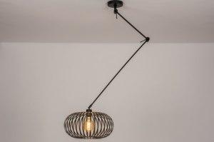 hanglamp 30892 landelijk rustiek modern retro metaal zwart mat rond