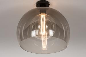 plafondlamp 30893 modern retro kunststof acrylaat kunststofglas metaal zwart mat bruin rond