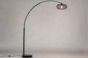staande lamp 30894 industrie look modern retro metaal zwart mat rond
