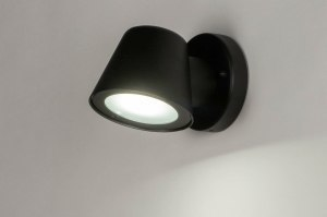 wandlamp 30898 industrie look design landelijk rustiek modern aluminium metaal zwart mat rond