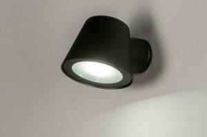 wandlamp 30900 industrie look design modern aluminium metaal zwart mat