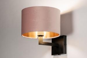 wandlamp 30901 landelijk rustiek modern eigentijds klassiek stof metaal zwart mat goud koper