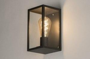 wandlamp 30903 landelijk rustiek modern eigentijds klassiek glas helder glas aluminium metaal zwart mat rechthoekig
