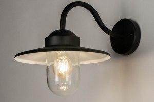 wandlamp 30904 landelijk rustiek modern eigentijds klassiek glas aluminium metaal zwart mat