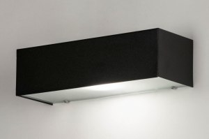 applique murale 30905 moderne verre aluminium acier noir mat rectangulaire