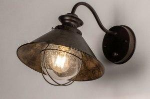 wandlamp 30906 landelijk rustiek klassiek eigentijds klassiek glas metaal roest bruin brons bruin lantaarn