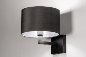 wandlamp 30908 landelijk rustiek modern eigentijds klassiek stof metaal zwart grijs zilvergrijs zilver  oud zilver